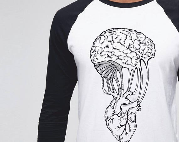 Mind and spirit | Unisex Raglan T-Shirt | 3/4 sleeves | Basketball shirt | Apparel for her / him | Pen and Ink| heart and brain connection