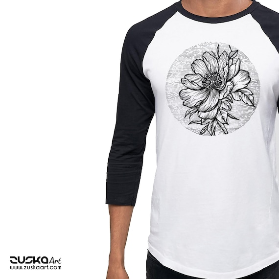 Blooming Flower | Unisex Raglan T-Shirt | 3/4 Sleeves | Cherry Tree | Geometric Art | Ink Tattoo style | ZuskaArt