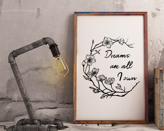 Dreams are all I own | Enhanced Matte Paper Poster | Typography Art | Cherry Tree Flowers | Geometric Art | Ink Tattoo style | ZuskaArt