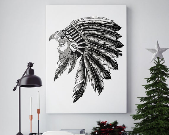 Horus falcon with sacred feathers headdress | Framed Canvas | Third eye of Horus | Tattoo style | Ink drawing | ZuskaArt