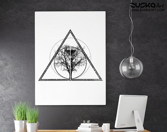 Tree of life / knowledge | Enhanced Matte Paper Poster | Bodhi tree | Geometrical Art | Ink Tattoo style | Black & White | ZuskaArt