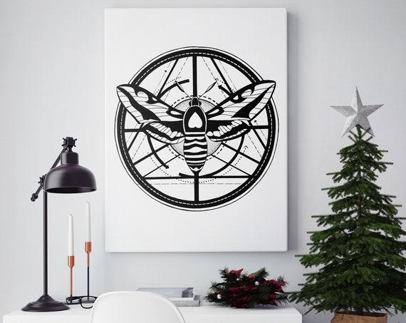 Moth Totem | Framed Canvas | Geometric Art | Metamorphosis | Ink Tattoo style | Original Artwork | Black & White | ZuskaArt