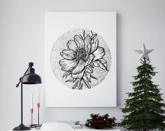 Blooming Flower | Framed Canvas | Cherry Tree | Geometrical Art | Ink Tattoo style | Black and White | Original Artwork | ZuskaArt