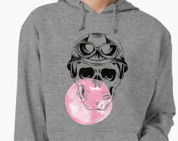 Sugar Skull with bubble gum | Unisex Hooded Sweatshirt | Halloween Party clothing | hoodie | Calaveras| Day of the dead| Aviator | ZuskaArt