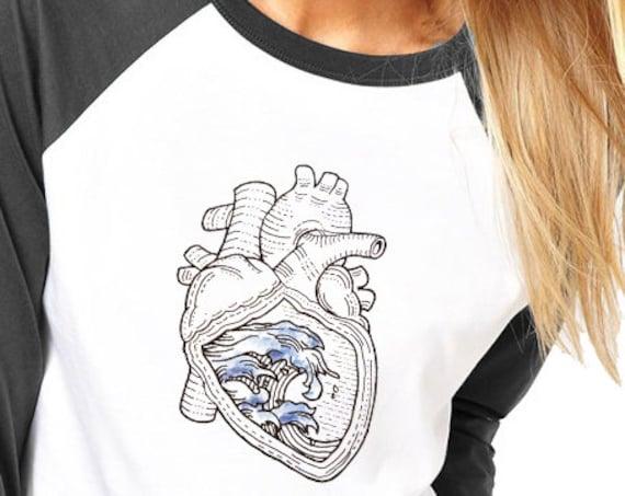 Ocean Heart | Unisex Raglan T-Shirt | 3/4 sleeves | Basketball shirt | Apparel for her / him | Pen and Ink| Surfers Tee | ZuskaArt