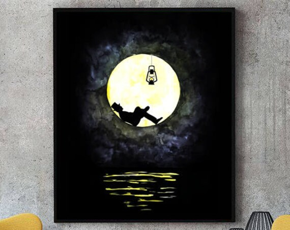 The lunatic | Man in the moon poster | Dark  Wall art | Watercolor| Paper poster art | Archival print | Original artwork | Lightbulb