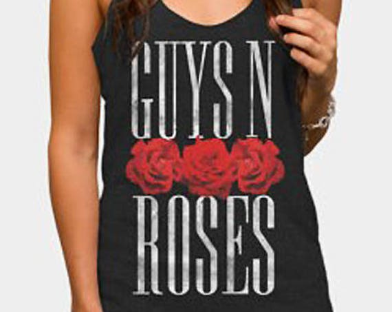 Guys 'N Roses | Satin Jersey Ladies' Shirttail Tank | Graphic tank top | Guns 'N Roses pun  | Original Artwork | Rock music fan tee | Band