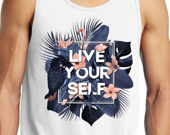 Live Your Self | Unisex American Apparel Tank top | Tropical leaves | Parrots and butterflies | Motivational quote design | ZuskaArt