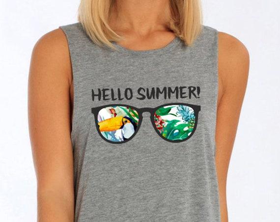 Hello Summer! Women Sexy and Flowy Muscle Tank Top | Beach t-shirt | Summer apparel | Fitness, jogging, gym, yoga clothing | ZuskaArt