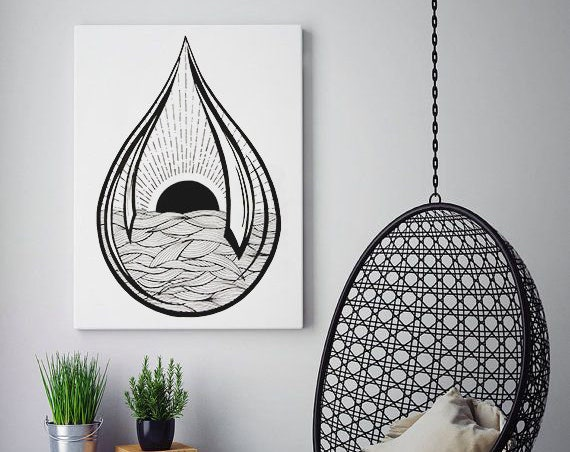 Black Sun Teardrop | Framed Canvas | Ink Tattoo style | Graphic Design | Ocean Waves | Sunrise sunset | Original artwork | ZuskaArt