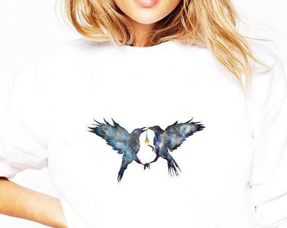 Magic Ravens | Unisex Crewneck Sweatshirt | Shamanic crow | Elixir Potion | Witchcraft | Spirit animal totem | Native American | ZuskaArt