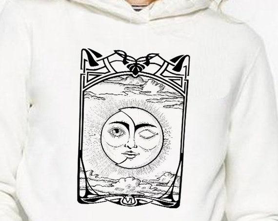 The Lovers VI Tarot Card | Unisex Hoodie Sweatshirt | Sun and Moon | Cosmic Wedding | Solar Eclipse | Original ink artwork | ZuskaArt