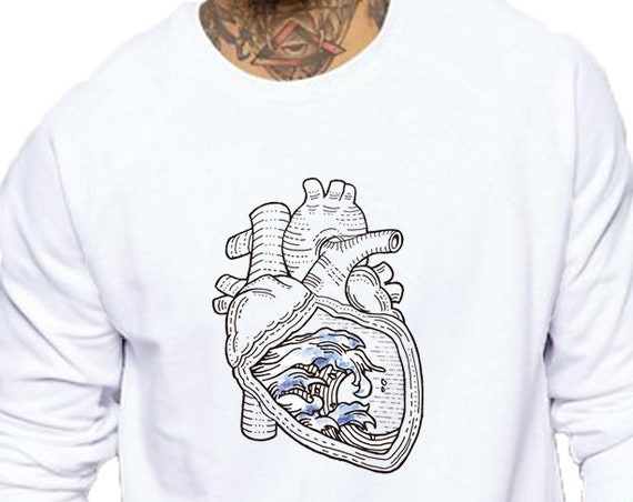 Ocean heart | Unisex Heavy Blend Crewneck Sweatshirt | Graphic Sweatshirt | Pen and Ink art| Tattoo Style| original artwork| Waves |ZuskaArt