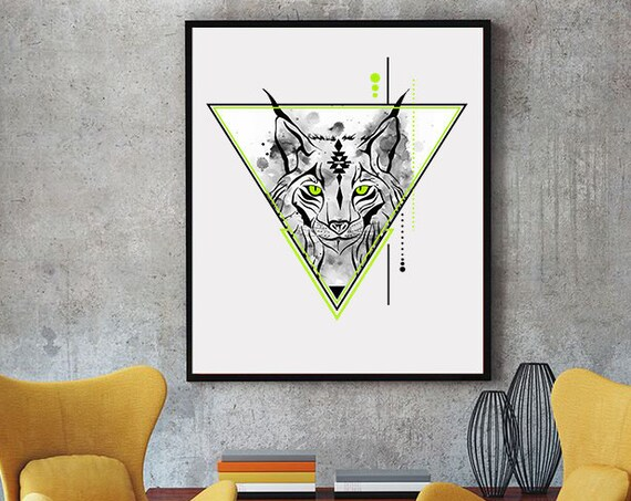 Geometrical Lynx | Bobcat animal spirit totem | Framed Poster | Wall art decoration | Spirituality | Geometrical Art | Shamanism | ZuskaArt