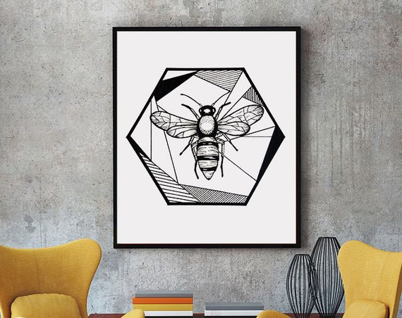 Honeycomb Bee | Framed Poster | Geometrical Art | Save The Bees | Ink Tattoo style | Black and White | Original Artwork | ZuskaArt