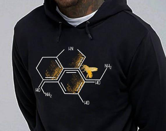 Nectar of Life   Unisex Heavy Blend Hooded Sweatshirt   Serotonin and Dopamine chemical formulas  Bee honeycomb   Chemistry geek  ZuskaArt