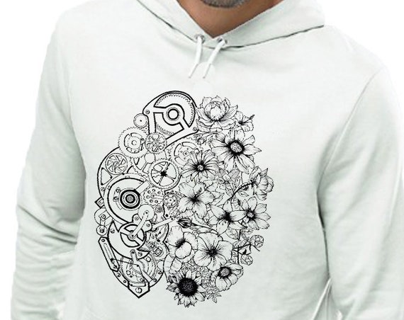 Left Brain Right Brain | Unisex Heavy Blend Hooded Sweatshirt | Graphic Sweatshirt | Pen and Ink art| Tattoo Style| Original art| ZuskaArt