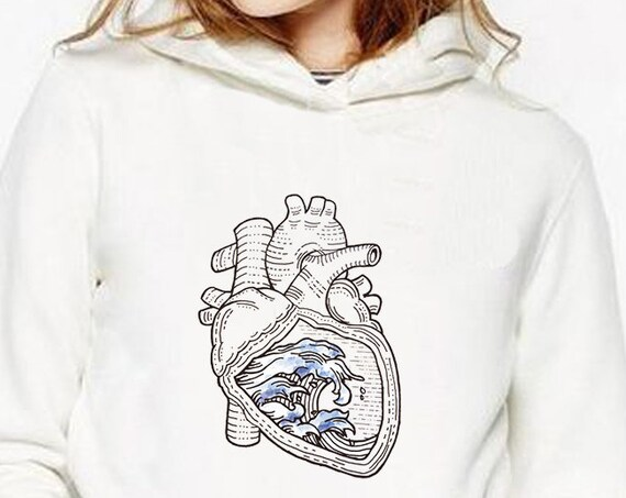 Ocean heart | Unisex Heavy Blend Hooded Sweatshirt | Graphic Hoodie | Pen and Ink art | Tattoo Style| Ocean anatomical heart |ZuskaArt
