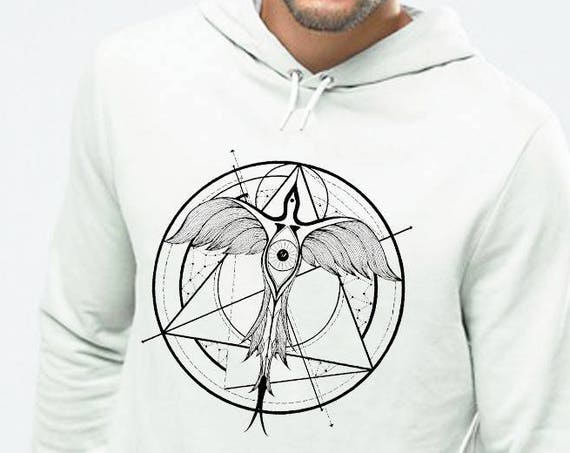 Phoenix ascending | Unisex Hoodie Sweatshirt | Geometrical drawing | Phoenix bird | Graphic shirt | Ink Tattoo style | Alchemy |ZuskaArt