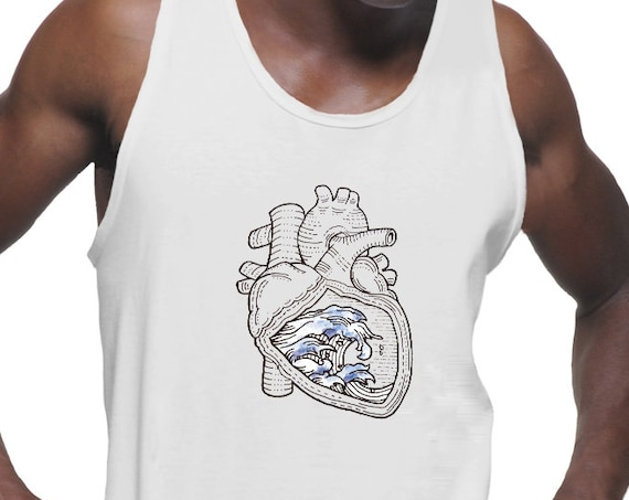 Ocean Heart | American Apparel  Fine Jersey Unisex Tank Top | Tattoo style | Beach graphic shirt | Pen and Ink Waves | Anatomical Heart |