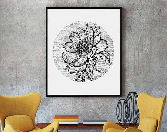 Blooming Flower | Framed Poster | Cherry Tree | Geometrical Art | Ink Tattoo style | Black and White | Original Artwork | ZuskaArt