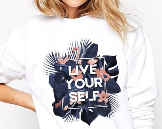 Live Your Self | Unisex Crewneck Sweatshirt | Tropical leaves | Parrots and butterflies | Motivational design | ZuskaArt