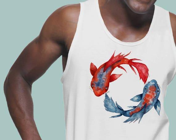 Yin Yang Koi Fish | American Apparel Fine Jersey Unisex Graphic Tank Top | Original Artwork | Watercolor art | Japanese Carp art | ZuskaArt