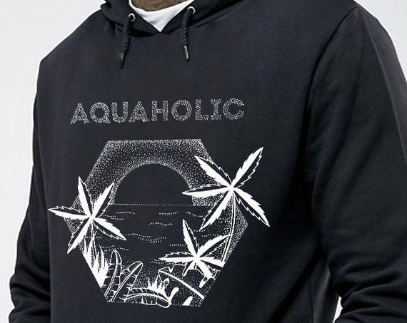 Aquaholic | Unisex Hoodie Sweatshirt | Beach shirt | Palm trees | Tattoo style | Original artwork | Ocean sunset | ZuskaArt