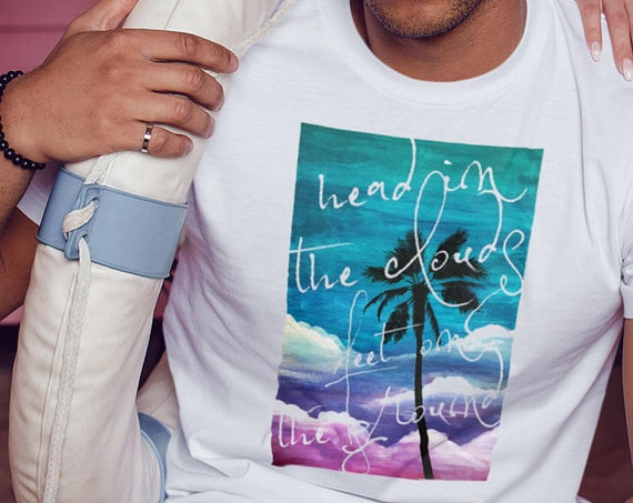 Head in the clouds feet on the ground | Unisex T-Shirt | Beach shirt | Palm tree on watercolor background  | Colorful Graphic Tee | ZuskaArt