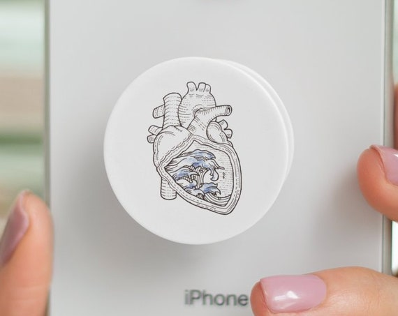 Ocean heart | Anatomical heart with waves PopSocket Phone Accessory | Tech Christmas Gift | Iphone / Samsung Phone Decal | Retro Tattoo