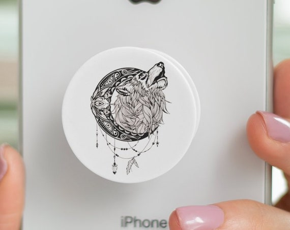 Mandala moon howling wolf PopSocket Phone Accessory | Tech Christmas Gift | Iphone / Samsung Phone Decal | Animal spirit totem | ZuskaArt