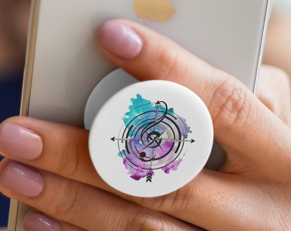 Sol key compass | Tattoo style music PopSocket Phone Accessory | Tech Christmas Gift | Iphone / Samsung Phone Decal |  Musician gift