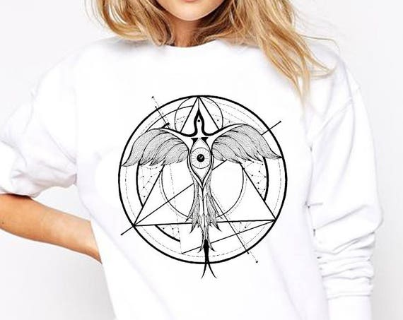 Phoenix ascending | Unisex Crewneck Sweatshirt | Geometrical drawing | Phoenix bird | Graphic shirt | Ink Tattoo style | Alchemy |ZuskaArt