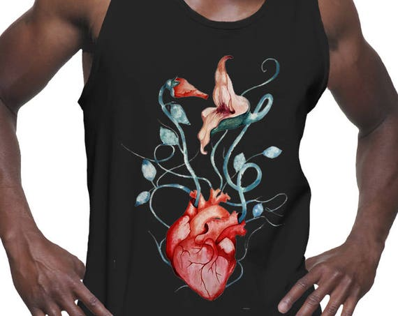 Pink Floyd The Wall Love Flowers | American Apparel Unisex Graphic Tank Top | Rock music fan | Anatomical heart | Psychedelic art |