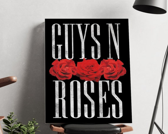 Guys N Roses Black Canvas  | artwork | art prints | framed art | art posters | watercolor art | giclee prints | wall art | ZuskaArt