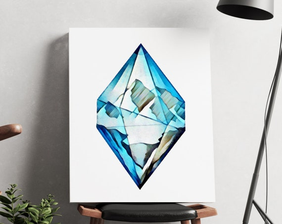 Blue diamond mountains | artwork | art prints | canvas art | framed art | art posters | watercolor art | giclee prints  | wall art