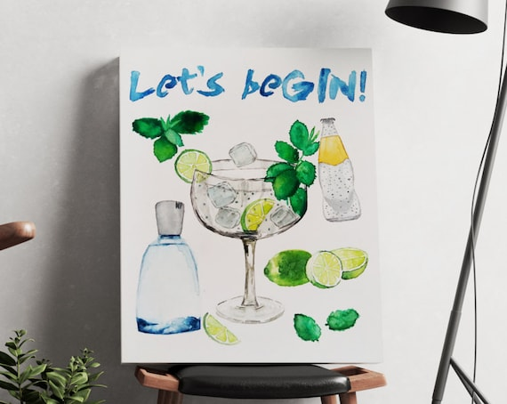 Let's beGIN!  | artwork | art prints | canvas art | framed art | art posters | watercolor art | giclee prints  | wall art | cocktail art