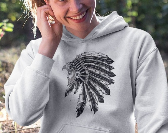 Horus falcon with sacred feathers headdress   Unisex Hoodie Sweatshirt   Third eye of Horus   Tattoo style   Ink drawing   ZuskaArt