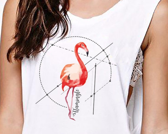 Let's Flamingle | Women Sexy & Flowy Muscle Tank Top | Graphic Tank | Flamingo Art | Personalized Tank | Party Tank | ZuskaArt