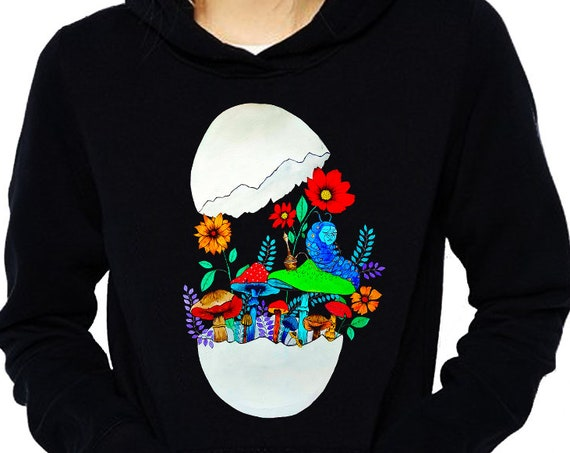 Smoking caterpillar | Unisex Hoodie Sweatshirt | Absolem | Alice in wonderland | Magic mushrooms | Psychedelic art | ZuskaArt