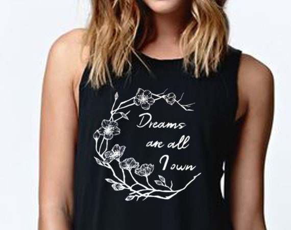 Dreams are all I own | Women Flowy Muscle Tank Top | Typography Tank | Cherry Tree Flowers | Geometric Art | Ink Tattoo style | ZuskaArt