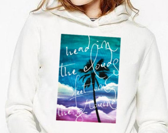Head in the clouds feet on the ground | Unisex Hoodie Sweatshirt | Palm tree on watercolor background | Colorful Graphic Shirt | ZuskaArt