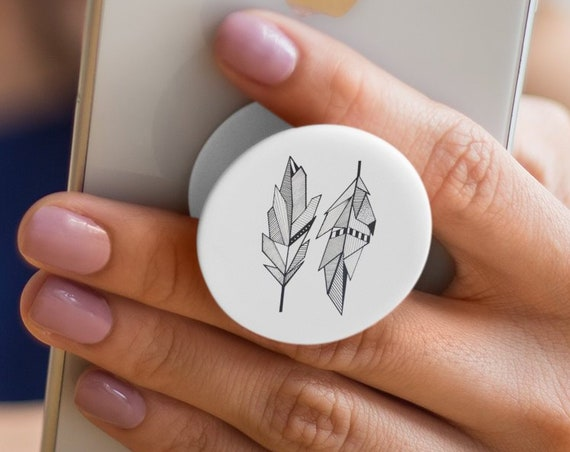 Geometric native sacred feathers | Navajo pattern PopSocket Phone Accessory | Tech Christmas Gift | Iphone / Samsung Phone Decal | Tattoo