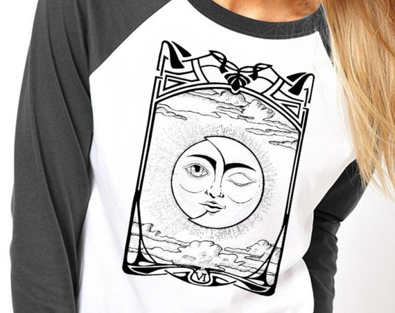 The Lovers VI Tarot Card | Unisex Raglan T-Shirt | Sun and Moon | Cosmic wedding | Solar Eclipse | Original artwork | Ink drawing | ZuskaArt