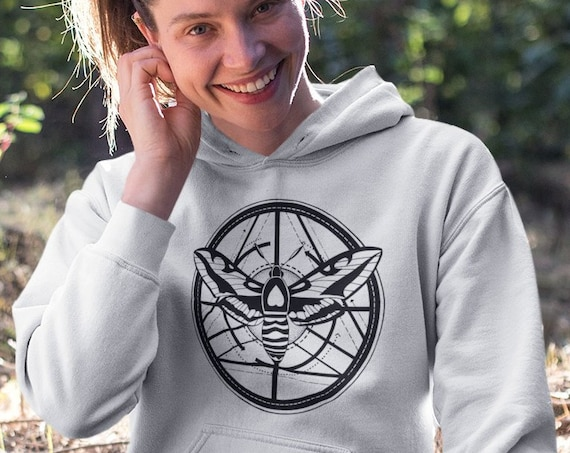 Moth Totem | Unisex Heavy Blend Hooded Sweatshirt | Graphic Hoodie | Geometric design | Ink tattoo style Hoodie | ZuskaArt