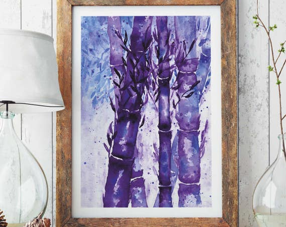 Bamboo Forest |  Paper poster | Wall art | Watercolor painting | Poster Art | Archival Print  | Japanese Purple Art | ZuskaArt
