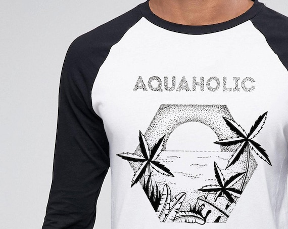 Aquaholic | Unisex Raglan T-Shirt | Beach shirt | Surfing Tee | Palm trees | Tattoo style | Original artwork | Ocean sunset | ZuskaArt