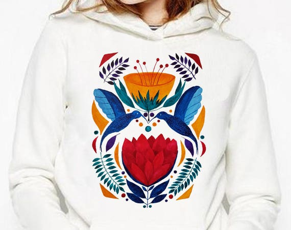 Love Birds |  Unisex Heavy Blend Hooded Sweatshirt | Graphic Sweatshirt | Watercolor kissing hummingbirds | Ethnic art hoodie | ZuskaArt