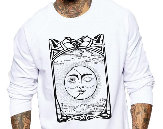 The Lovers VI Tarot Card | Unisex Crewneck Sweatshirt | Sun and Moon | Cosmic Wedding | Solar Eclipse | Original ink artwork | ZuskaArt