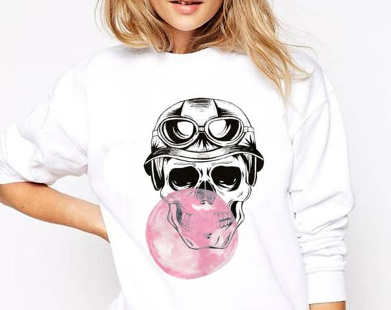 Sugar Skull with bubble gum balloon | Unisex Heavy Blend Crewneck Sweatshirt | Calaveras | Day of the dead | Aviator | ZuskaArt